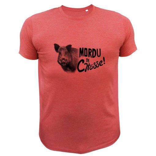 tee-shirt de chasse humoristique rouge, sanglier