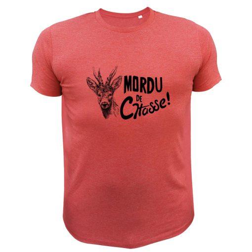 vêtement de chasse humoristique, t-shirt rouge, cerf