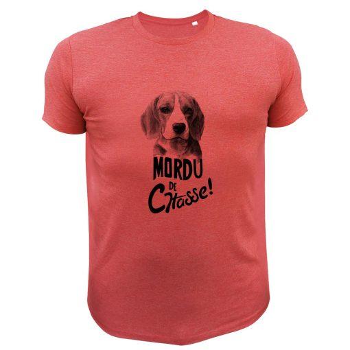 cadeau fête des pères, t-shirt chasseur rouge, beagles