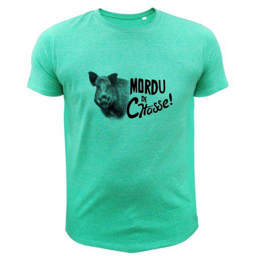 boutique de chasse, t-shirt original vert, cochon