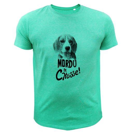 idée cadeau pour chasseur, tee-shirt vert, beagle
