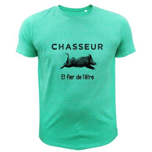 cadeau anniversaire chasseur, t-shirt vert avec sanglier