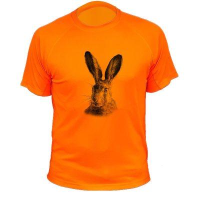 t-shirt de chasse, cadeau original, lapin orange fluo