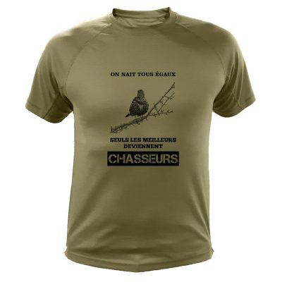 t-shirt de chasse grive on nait tous egaux