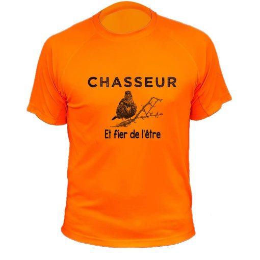 t-shirt de chasse orange fluo grive chasseur et fier de l'être