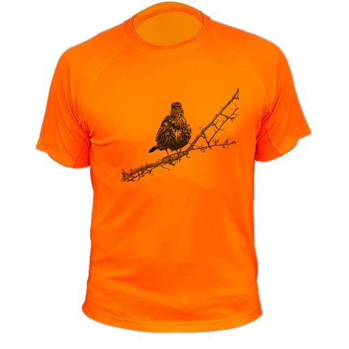 t-shirt de chasse orange fluo grive