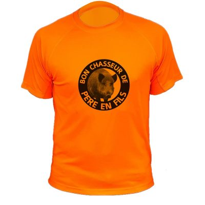 tee-shirt-chasse-pere-fils-orange-fluo