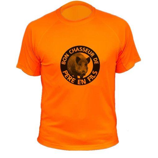 tee-shirt-chasse-pere-fils-orange-fluo