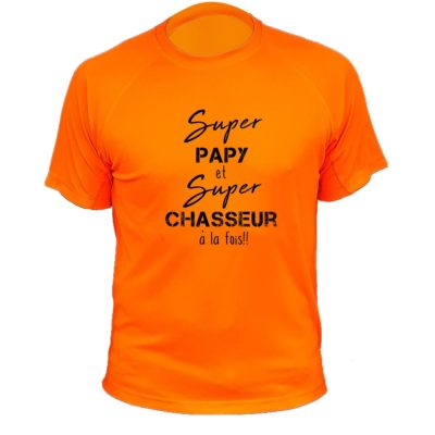 tee-shirt-papi-chasseur-orange-fluo-grand-pere