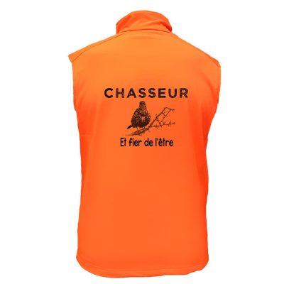 gilet de chasse grive chasseur et fier de l'être orange fluo